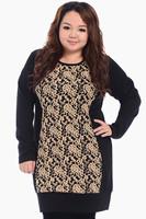 New 2014 Designer Clothes Long Sleeve plus Size Casual Dress fat Women Dresses elegent lace Patchwork Spring big size Clothing