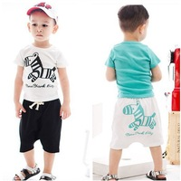 Baby Boys Girls  cartoon Pony Tee + Panties For 3-7Years Kids T Shirt Sets Clothing Children T Shirt + Shorts  Free Shipping