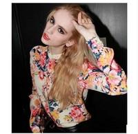 New 2014 Spring  Women  Print Long-sleeve Chiffon Shirt  Plus Size S-XL