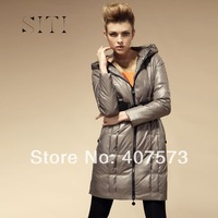 free shipping &SITI Free shipping 2013 New Arrivals Women Long Thick Slim High Quality Down Jacket Coat Hooded Black Silver