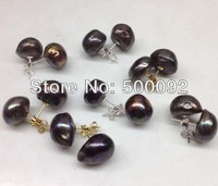 wholesale 10 pairs 13-15mm black pearl stud earring