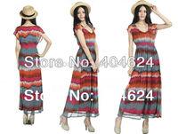 High Quality Hot New Fashion Popular Ankle-Length Women Chiffon Bohemian Striped Short Regular Beach Maxi Day Summer Dresses