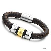Fashion titanium steel 18K gold plated men bangle bracelet  Made with genuine leather
