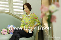 2014 Spring Summer Women Sweet Slim long-sleeved Lapel Print Chiffon Shirt Free Shipping Retail and Wholesale