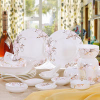 Bowl set 28 plate ceramics bone china dinnerware set microwave gold