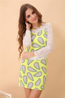 2014 spring and summer star style o-neck slim lace sleeve flower cashew one-piece dress slim hip skirt