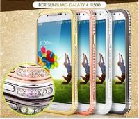 Luxury Rhinestone Diamond Aluminum Bumper Metal Case For Samsung Galaxy S3 S4 i9500 + Retail Package MOQ:1pcs/lot Free Shipping