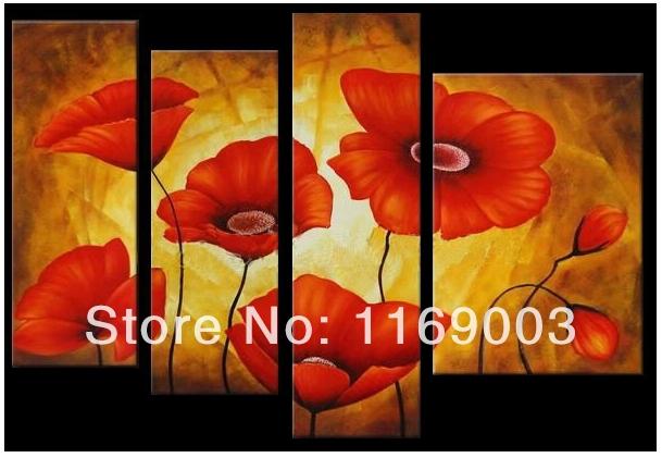 Grande parte 4 Abstract lona de arte moderna da parede barato papoila vermelha pintura a óleo da flor na lona para sala de estar decoração de casa(China (Mainland))