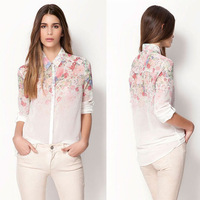 Free shipping 2014 NEW spring fashion European style elegant fashion sweet printed ladies blouse, womens chiffon shirt JR 8303
