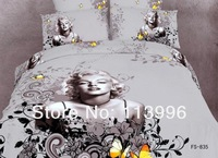 3D printing Marylin Monroe butterfly grey quality lady bedding set queen duvet doona cover sheet bedspread pillowcase sets gift