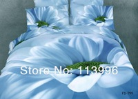 new arrival blue flower petal 3d printing beauty lady high quality bedding set queen size duvet doona cover sheet set bedclothes