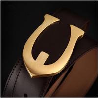 New fashion brand designer luxury belt for men genuine leather Men's waist belt strap buckle gold high quality free shipping