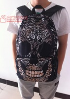 2014 3D skull face printing backpack school Mochila aeropostale kids bolsas femininas children cartoon bag Men women
