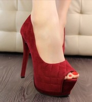 Womens 2014 Fashion Sexy Ultra Thin High Heel Platform Wedding Party Shoes Peep Toe Pumps