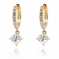 B303 Classic Woman Fashion Jewelry Crystal Hoop Waterdrop Drop Earrings