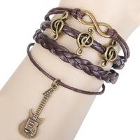 Discount wholesale hand-woven bracelets happy note guitar accessories antique bracelet 10pcs/lots
