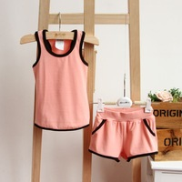 Children's clothing sets ! Child summere clothes solid sleeveless waistcoat + shorts kids two pieces 3 color 2-7yrs  EZD-T0059
