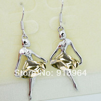 B305 Classic Woman Fashion Jewelry Crystal Ballet Lady Girl Drop Earrings