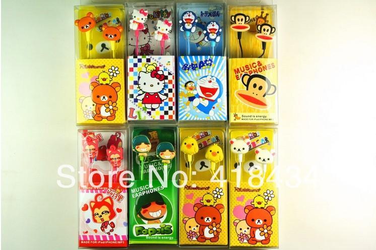 Cartoon Popois-ear headphones Piece bear cats and birds monkeys kitty cute animal earphone MP3/MP4 phone headphones 50pcs(China (Mainland))