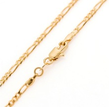 Classic 60cm women men 18K gold GP filled figaro gold chain 24 inches 2.5mm 5g thin long necklace & Pendants Jewelry