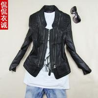 2015 leather jacket spring and autumn women's leather jacket short slim design elegant high quality plus size l-3xl 4xl 15