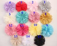 Chiffon fllowers for headband Vintage Chiffon Shabby Look Flowers solid DIY flower headwear Hair Accessories 100PCS