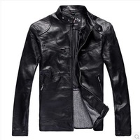 spring 2014 EMS free shipping brand sheepskin coat motorcycle genuine leather jacket men