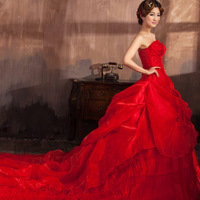 In Stock Free Shipping 2014 Cheap White/Red  Princess Elegant Wedding Dresses/Gowns New Arrival Tube Top Train Bridal Bandage
