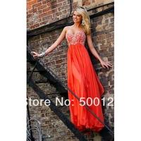 Vestidos De Fiesta New Trend Crystal Chiffon Long Prom Dresses Custom Made Floor Length Formal Evening Dresses 2014