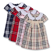 2014 New Summer Baby Girls Short Sleeve Dress For 2-6yrs Child 100% Cotton Classic plaid dres Kids princess dress
