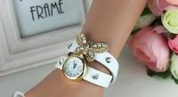 2014 New women vintage leather strap watches,set auger butterfly rivet bracelet women dress watch,women wristwatch FREE SHIPPING