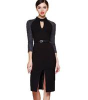 Free Shipping 2014 Spring  Summer Women Victoria Sexy Zipper Back Formal Dress,Luxury women dress With Belt