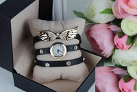 2014 New women vintage leather strap watches,set auger angel wings rivet bracelet women dress watch wristwatch FREE SHIPPING