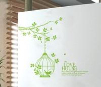 Free shipping!! JM7112 tree branch birdcage wall sticker living room 60*90cm