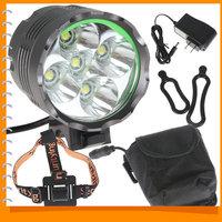 Securitylng High Power 6000 Lumen 5 x CREE XML T6 LED Bike Lamp Bicycle Head Light & Headlight Headlamp with 8000mAh Battery