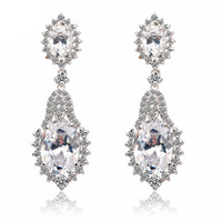New Luxury Swiss Cubic Zirconia Dangle Earrings for Party Dress 4Color Choice
