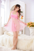 Pink Sexy Mesh See-through Gauze Sleep Dress Nightgown Pajamas Sleepwear