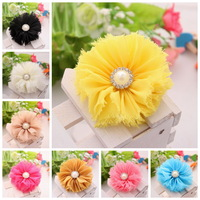 Chiffon fllowers for headband Vintage Chiffon Shabby Look Flowers with pearl Rhinestone head made Hair Accessories 50PCS