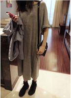 2014 spring ultra long knitted half sleeve roll-up hem full dress cotton Light gray black one-piece dress