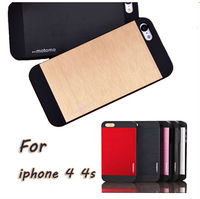 Luxury Motomo Double Color Matte Brushed Aluminum PC Hybrid Case for iphone 4 4s 4g Metal Hard Back Cover for iphone4s Phone Bag