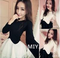 2014 spring gauze patchwork elegant slim doll long-sleeve white black one-piece dress