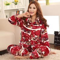 Style women's flannel thickening cartoon decorative pattern sleepwear twinset set mink velvet lounge female