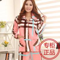 New arrival women's flannel sleepwear thickening plaid stripe sleepwear twinset set mink velvet lounge Women