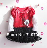 Retail 2014 New girls Minnie mouse tutu dress ,Spring & summer long sleeve princess dress,girls Layered dress GQ-359