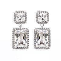 Classic geometry Rectangle Dangle Earrings Made With Swiss AAA+ CZ
