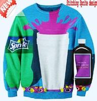 [YNM]2014 New fashion Women Men space Stitching Sprite coke Pullovers 3D Sweatshirts Hoodies jacket Galaxy shirts sweaters Tops