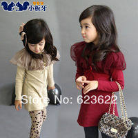 2014 spring children's clothing winter ruffle collar baby child female 4007 long-sleeve dress 1set/lot free shipping