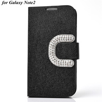 Rhinestone C Button Silk Style Bling PU Leather Stand Case For Samsung N7100 Galaxy Note2