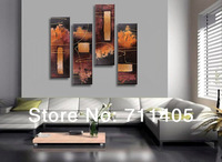 3 Size Free Shipping 100% Hand painted abstract 4pcs group oil painting High Quality Wall Art on Canvas wholesale/ A-094