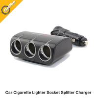 Universal Car Square Cigarette Lighter Charger Splitter HUB 12/24V 3 Sockets Adapter